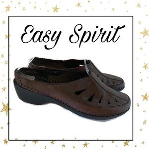 Easy Spirit Brown Leather Slide Mules 7 7M